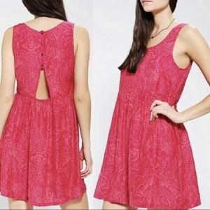 UO Ecote Pink Floral Back Cut-out Dress, Medium